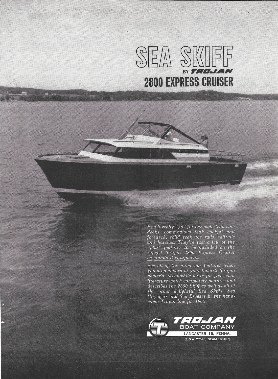 1964 Trojan Sea Skiff 2800 Express Cruiser Ad- Nice Photo