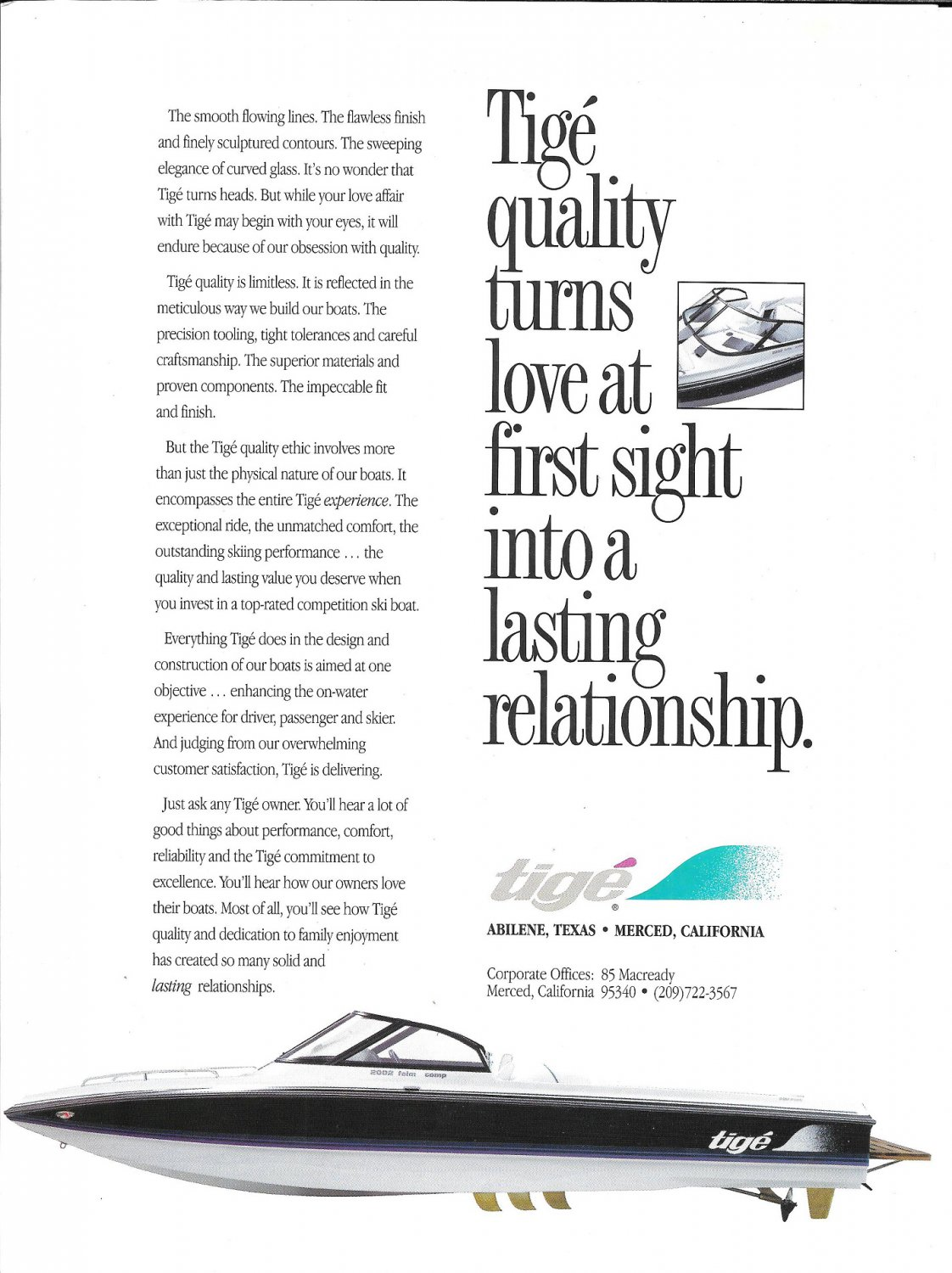 1995 Tige Boat Color Ad- Nice Photo