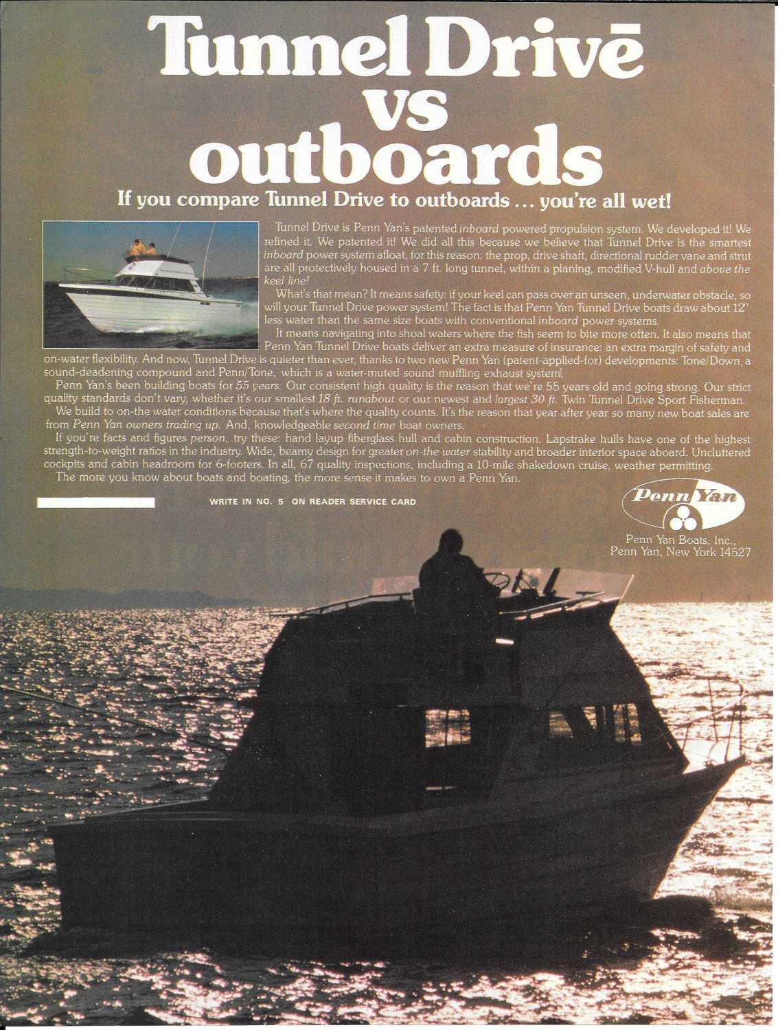 1977 Penn Yan 30' Sport Fisherman Yacht Color Ad- Nice Photo