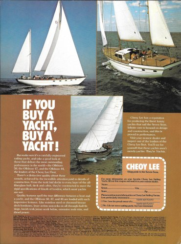 1973 Cheoy Lee Shipyards Color Ad- Nice Photo of 3 Models