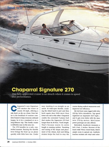 2003 Chaparral Signature 270 Yacht Review & Specs- Nice Photos