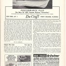 1957 Du Craft Boats Ad- Nice Photo 16' Deluxe Overniter