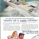 1958 Evinrude Lark Outboard Motor Color Ad- Nice Photo Cadillac Boat