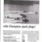 1965 Champion Spark Plugs Ad- Nice Photo Lake Spivey Hydroplane Race