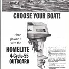 1966 Homelite 4- Cycle 55 HP Outboard Motor Ad- Nice Photo