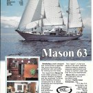 1982 Mason 63 Yacht Color Ad- Specs & Nice Photos