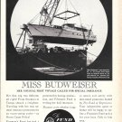 "1962 The Fund Insurance Ad- Nice Photo of Yacht ""Miss Budweiser"""