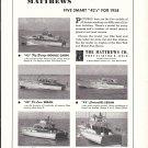 1958 Matthews Yachts Ad- Nice Photos of 5 Models of 42'