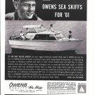 1960 Owens Yacht Company Ad- Nice Photo ogf 1961 27' Sea Skiff Deluxe