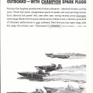 1959 Champion Spark Plugs Ad- Nice Photo of Hydroplanes
