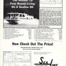 1973 Sea Line Boats Ad- Nice Photo Sealine 50 Houseboat