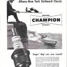 1950 Champion Spark Plugs Ad-Nice Photo Racing Boat 158-N-Augie Higl