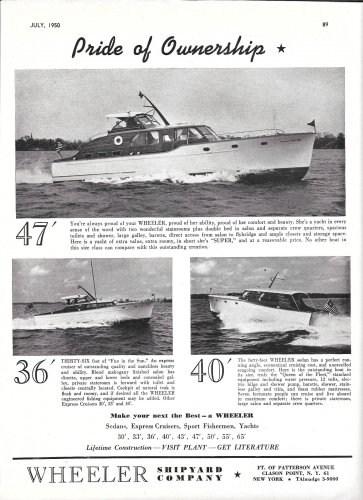 1950 Wheeler Shipyard Company Ad- Nice Photo of 47- 36- 40'