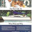 1987 C & C 30 Yacht Color Ad- Nice Photo