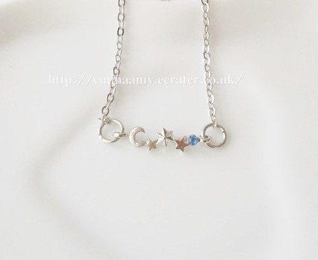 Silver Plated Siimple Moon Srars Silver Chain Necklace