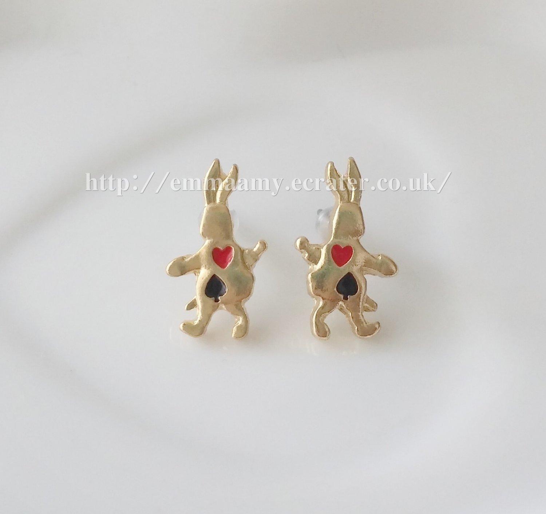 Gold Poker Alice Naughty Bunny  Stud Earrings