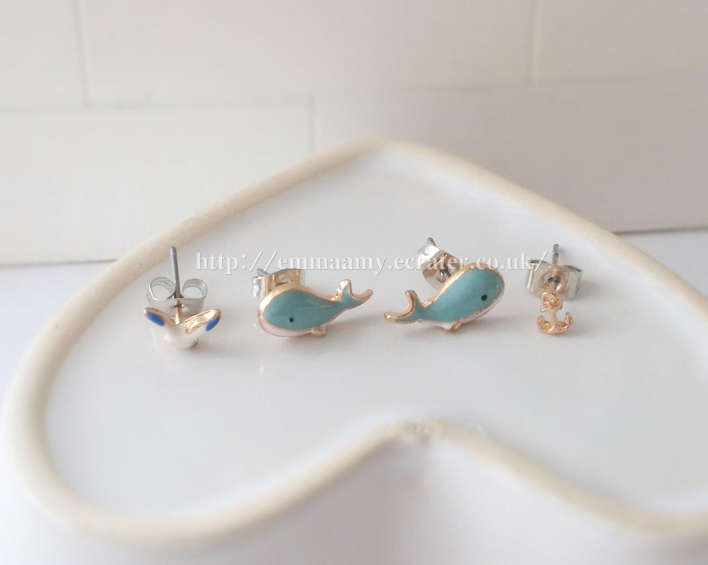 Light Blue Cute Dolphin Seagull  Stud Earrings Set