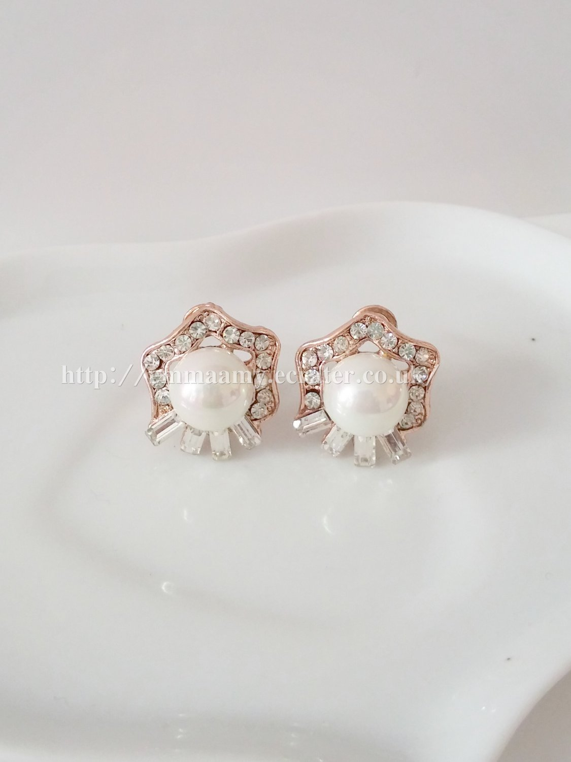 Rose Gold Plated Star Glass Pearl Stud Earrings Set