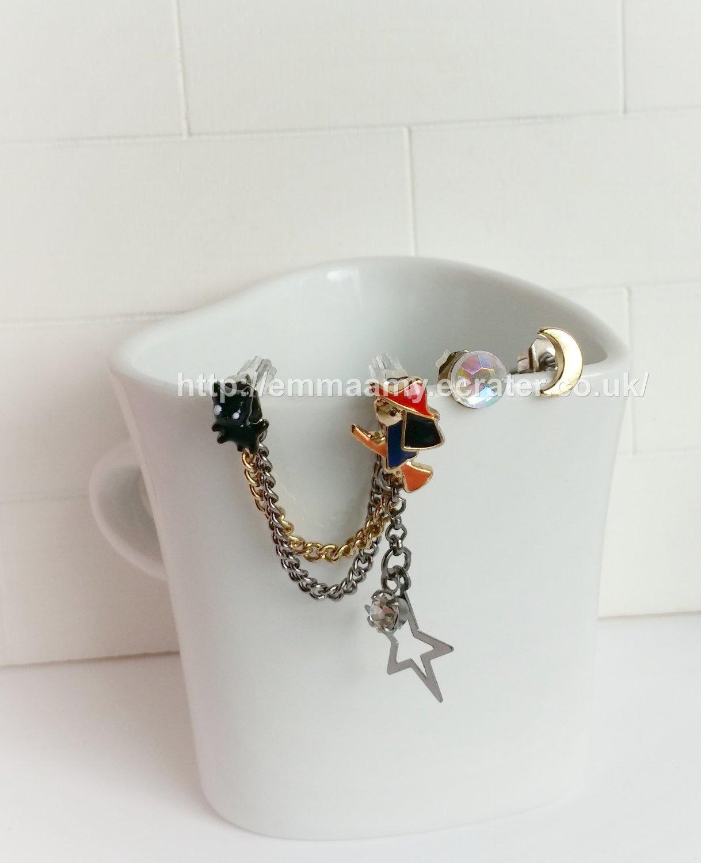 Cute Little Black Cat Moon Dream Boats Earrings