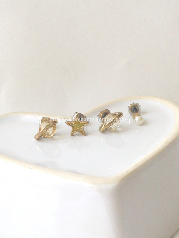 Fantasy Addict five-star Pearl Planet Stud Earrings Set