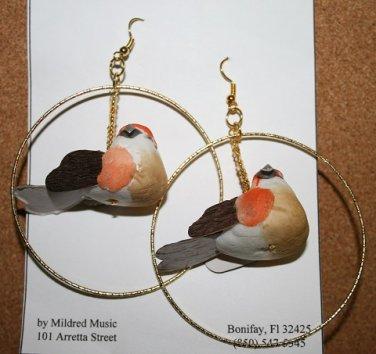Large Bird Hoop Ear Rings