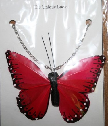 Large Red Butterfly Necklace