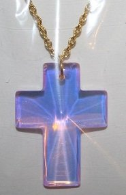 Pink Cat's Eye Glass Cross Necklace (gold chain)