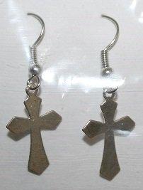 Fancy Cut Silver Cross Ear Rings