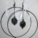 Black Hoop Dangly Ear Rings