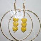 Gold Hoop Yellow Heart Dangly Ear Rings