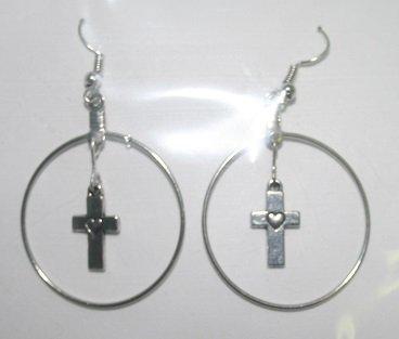 Silver Hoop Cross Dangly Ear Rings