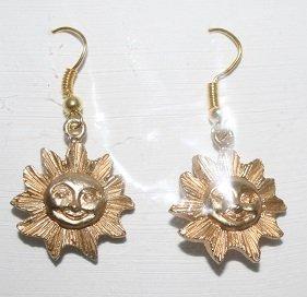 Gold Smiling Sun Ear Rings