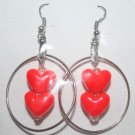 Small Silver Hoop with hanging red hearts Ear Rings