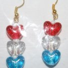 Speckled Red White and Blue Heart Ear Rings
