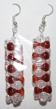 Crimson/Clear Tower Stacked Ear Rings