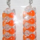 Orange/Clear Tower Stacked Ear Rings