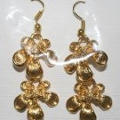 Gold Plated 2 Flower Design Ear Rings
