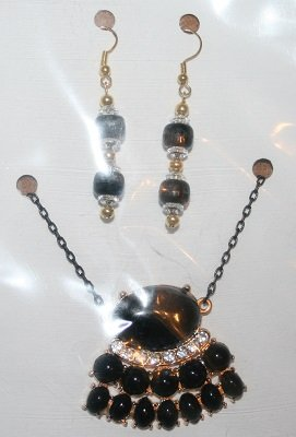 Black Necklace with Rhinestones and Ear Ring Set