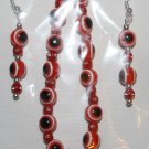 Red and Black Bracelet and Matching Ear Ring Set