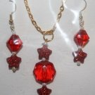 Red Stars and Beads Necklace and Ear Ring Set