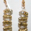Elegant 13 Gold Ridged and Clear Bead Ear Rings