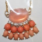 Elegant 58 Orange and Peach with Rhinestones Decorative Necklace on Gold Chain (2)