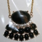 Elegant 60 Black with Rhinestones Decorative Necklace on Gold Chain (2)