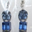 Elegant 88 Blue Round and Square Beaded Ear Rings