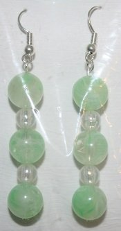 Elegant 95 Pastel Green Beads with Clear White Beaded Ear Rings