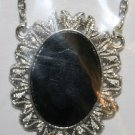 Elegant 110 Extravagant Black Gem with Silver Border Necklace (2)