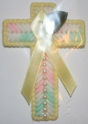 Cross Magnet (Support Our Soldier's) Green, pink and white
