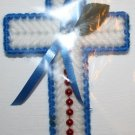 Cross Magnet Blue and White with Red Beads and Green Leaf