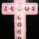 Cross Magnet in Pink and White (Jesus is Lord) written in beads with Poem of Rainbow's End