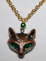 Fox Necklace with Emerald Green Eyes